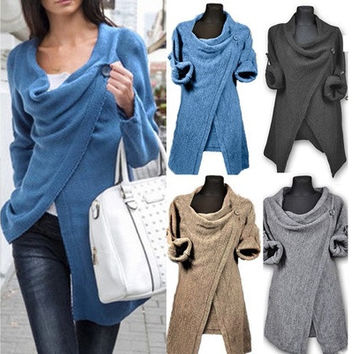 Women Ladies Cowl Neck Long Sleeve Jumper Top Cardigan Split Wrap Sweater Poncho [8833518732]