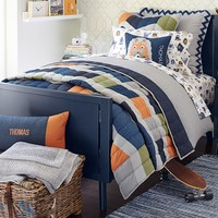 Denim Color Block Patchwork Quilted Bedding | Pottery Barn Kids