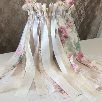Fabric & Lace Wedding Wands, 150 Triple Streamer Party Favors with Bell Option, Custom Wedding Favors