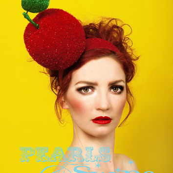 Giant Sparkly Red Apple Headpiece Headband Snow White Ladies Day Races Rock n Roll Bride Headwear Statement by Pearls and Swine