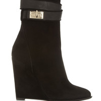 Givenchy | Shark Lock suede wedge ankle boots | NET-A-PORTER.COM
