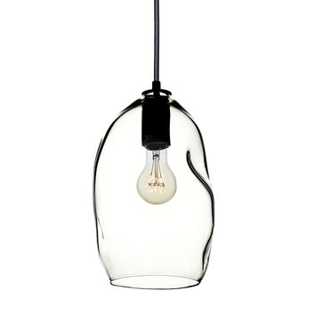 Clear Bubble Hand Blown Glass Pendant Light- Black