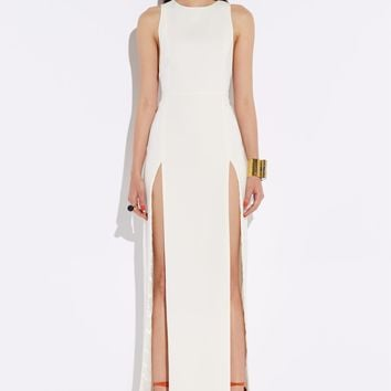 Lexi Cream High Double Slit Maxi Dress
