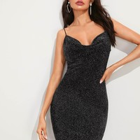 Draped Neck Glitter Bodycon Slip Dress