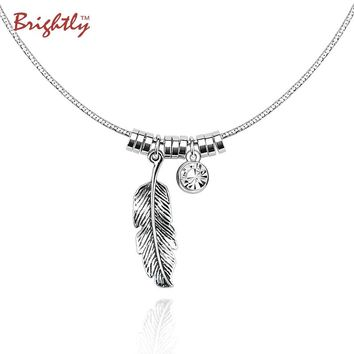 Brightly Fashion Ethnic Vintage Silver Color Choker Collar Necklace Feather and Rhinestone Pendants Necklaces for Women Gifts