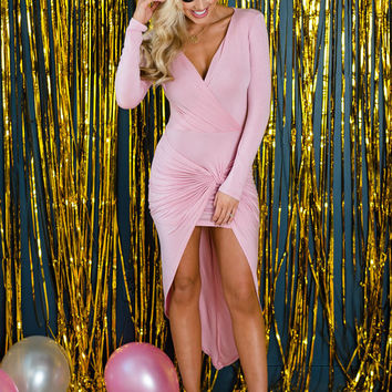 Wrap Me In Love High Low Bodycon Dress Dusty Pink