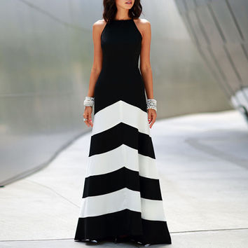 Striped Print Halter Maxi Dress