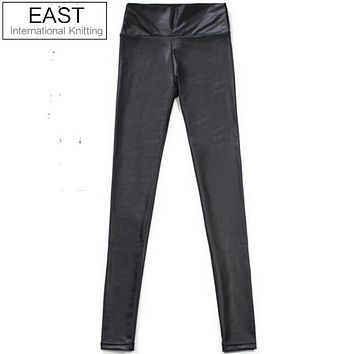 East Knitting FREE SHIP E1 Shiny Metallic High Waist Black Stretchy Leather Leggings S/M/L XL Plus Size