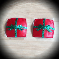 Red Present Bow Pasties Christmas Birthday Parcel Rhinestone Nipple Covers