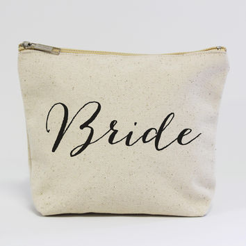 Bride Calligraphy Canvas Pouch