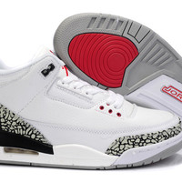 [ FREE SHIPPING ] AIR JORDAN 3 ( WHITE / FIRE RED - CEMENT GREY-BLACK RETRO)