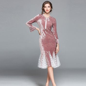 2017 autumn new woman Vintage Lace Velvet Patchwork  Mermaid dress Butterfly  sleeves dress  lady  fashion party Trumpet dresses