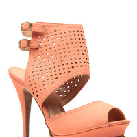 Glaze Coral Cut Out Double Sling Heels