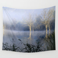Lost In The Mammoth Paradise. Foggy sunrise at the laggon Wall Tapestry by Guido Montañés