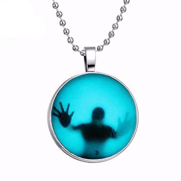 Fashion Shadow Men Style Necklace Glass Cabochon Chain Statement Pendant Necklace Glow In The Dark Fine Jewelry Punk Accessories