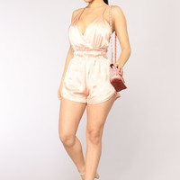 Admire The View Satin Romper - Blush