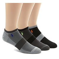 Polo Ralph Lauren Tech Athletic Ped Socks 3-Pack - Grey Assorted ALL