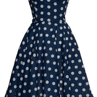 Blue Polka dot 50s Inspired Full Circle Rockabilly Dress  | Style Icon`s Closet