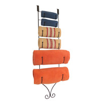 Evelots® Over The Door Metal Towel Rack, 6 Holders, Storage Space Savers