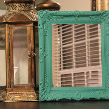 Detailed ornate turquoise leaning mirror - Turquoise decor, painted mirror, chalk paint mirror, framed mirror