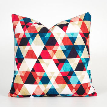 Geometric Pillow. Modern Throw Pillow. Geometric Cushion. 18 Inch Pillow Cover. Bright Pillow. Triangle Pillow Case. Colorful Throw Pillow