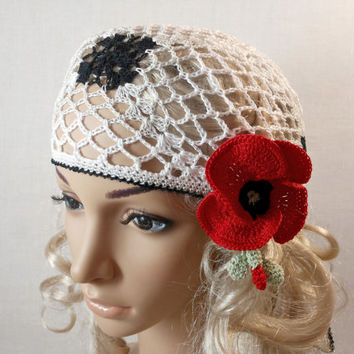 Woman Lace Crochet Vintage Style White Grey Headband Dreadlock Hair Snood Wrap Ponytail Kerchief Bandana Gypsy Pirate Tam Dreads Hat Summer
