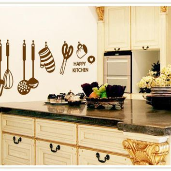 1Pcs kitchenware design kitchen Wall Stickers Tableware cooking tools decals Decoration Removable PVC wallpaper