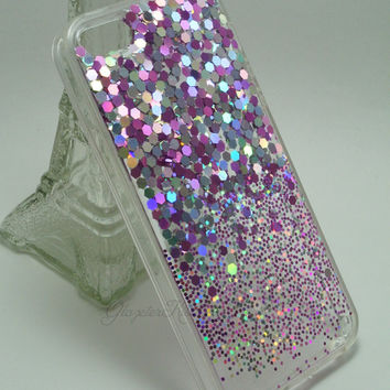 Violet Silver Ombre,Lovely Shiny Bling,Real Glitter,Sparkle,iPhone 5/5s case,iPhone 6,iPhone 6 Plus,Galaxy S4,Galaxy S5,Note 2,Note 3,Note 4