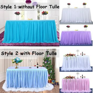 Valentine s Day TUTU Table Skirt Tulle Tableware Queen Wonderland Table Cloth Skirting Romantic for Wedding Christmas Party Baby