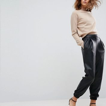 ASOS Low Rise Track Pant in Soft Leather Look at asos.com