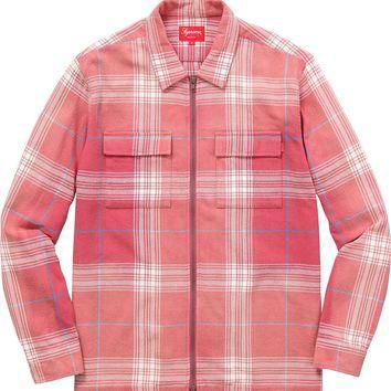 Supreme Faded Plaid Flannel Zip Up - Rose