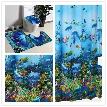 Blue Ocean Style Pedestal Rug + Lid Toilet Cover + Bath Mat & Shower Curtains With Hooks Ring
