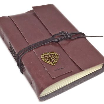 Faux Leather Journal with Blank Pages , Heart Charm, Vegan, Going Away Gift, Travel Journal, Groomsmen, Bridesmaid gift