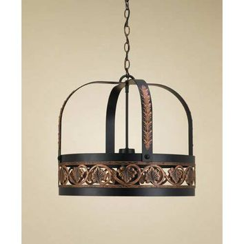 Hi-Lite H-81Y-D-BK01-PA-COP Leaf Black Leather Lighted Pot Rack