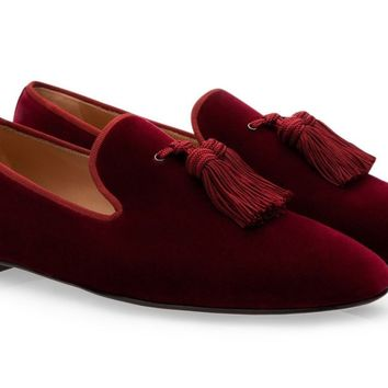 Burgundy Wine Red Tassel Velvet Loafers