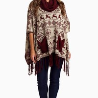 Burgundy-Printed-Cowl-Neck-Poncho