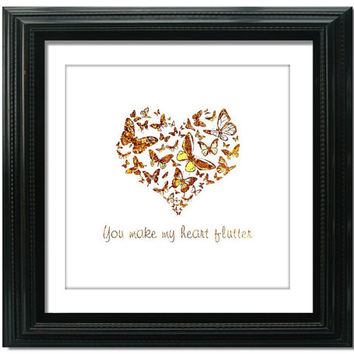 Gold Butterfly Heart Print, Valentine Typography, 8x8 - 16x16 inch, Pink and Gold, Love Heart Gift