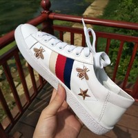 Gucci New Style Trending Women Personality Stripe Star Bee Embroidery Leather Sport Shoe Sneakers