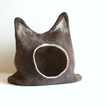 Large cat bed - cat cave - cat house - eco-friendly handmade felted wool cat bed - dark brown with natural white