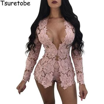 CREYCI7 2017 New Summer Two Piece Elegant Floral Lace Playsuits Long Sleeve Hollow Out Skinny Short Sexy Jumpsuit Women Rompers Overalls
