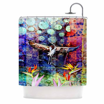 "AlyZen Moonshadow ""Birds Of Paradise Multi"" Multicolor Blue Digital Shower Curtain"