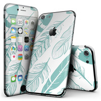 Teal Feather Pattern - 4-Piece Skin Kit for the iPhone 7 or 7 Plus