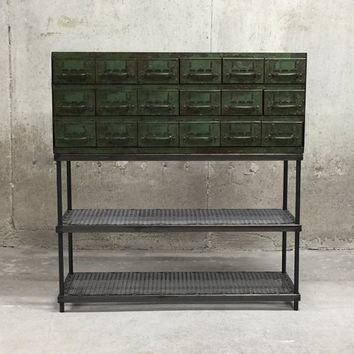 Console Table Vintage Equipto Parts Drawer with Round Bar Legs and Two Lower Mesh Shelves
