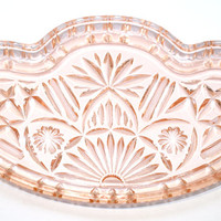 Dressing Table Tray, Glass Tray, Dressing Table Glass, Peach Glass, Pressed Glass, Patterned Glass, Crystalor, Scalloped - 1940s / 1950s