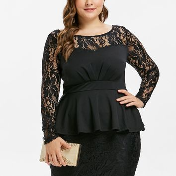 Wipalo Plus Size 5XL Lace Panel Peplum Dress Elegant Sexy Long Sleeves Black Party Dress Women Bodycon Vintage Office Vestidos