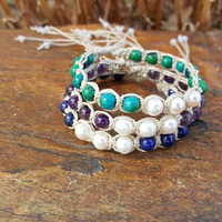Hemp Bracelet, Healing Jewelry, Genuine Gemstones, Adjustable Bracelet, Cultured Pearl Bracelet, Hemp Jewelry, Friendship Bracelets, Gift