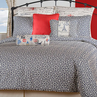 Navy Europa Bedding (Greek Key)