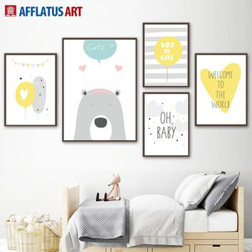 Bear Balloon Elephant Baby Quotes Wall Art Canvas Painting Nordic Posters And Prints Animal Wall Picture Kids Room Bedroom Decor