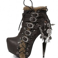 Brown Steampunk Ankle Boots with 6 Inch Heel by Hades Footwear from ShoeOodles
