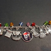 Pirates of the Caribbean themed stainless steel charm bracelet